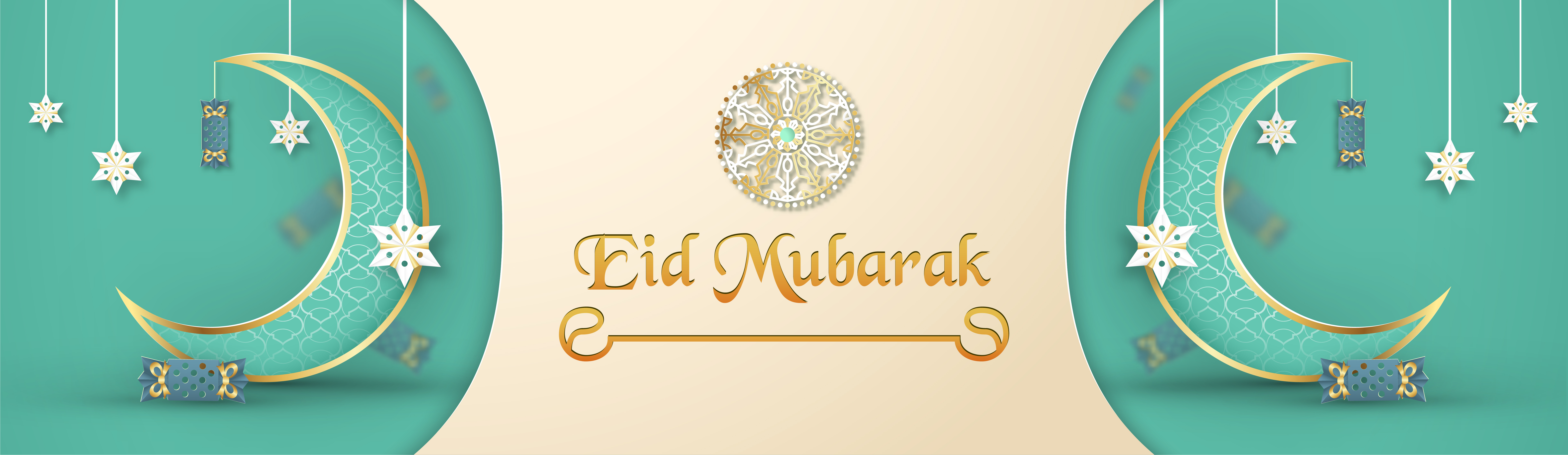 template for eid mubarak with green and gold color tone