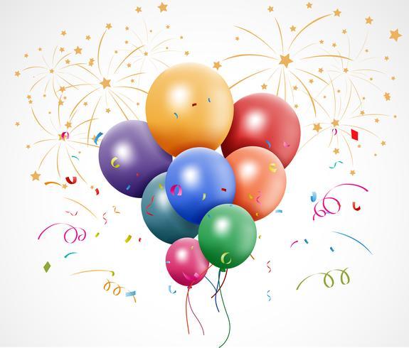 Födelsedagsdesign med ballong och konfetti