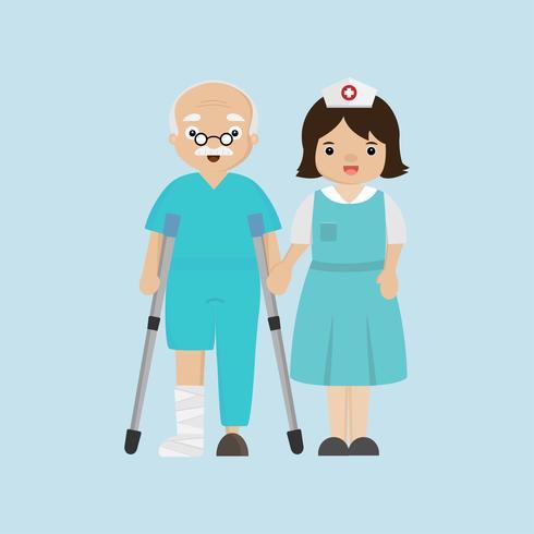Enfermera ayudando a paciente senior con un bastón. vector
