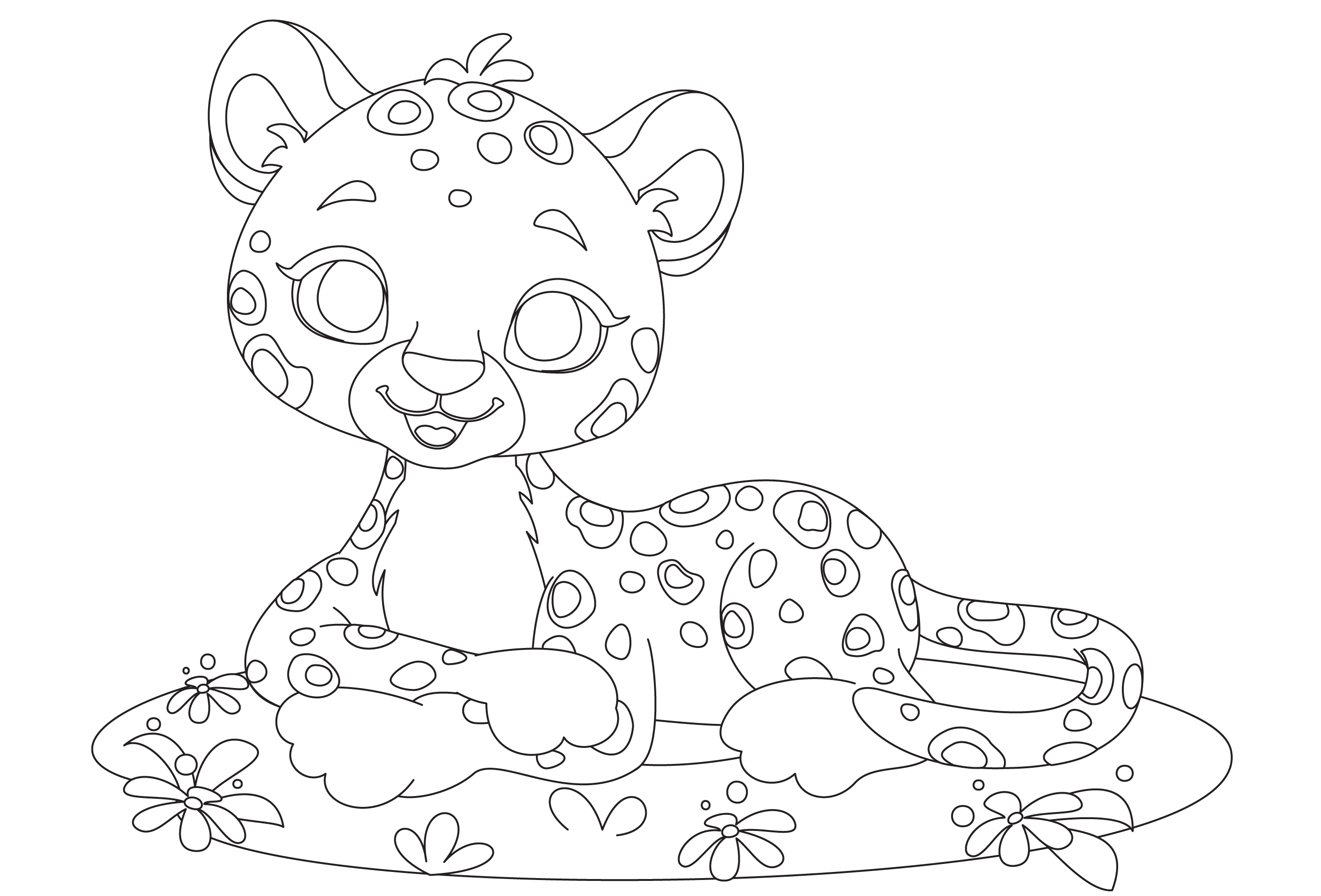 Baby leopard cute cartoon outline drawing - Download Free ...