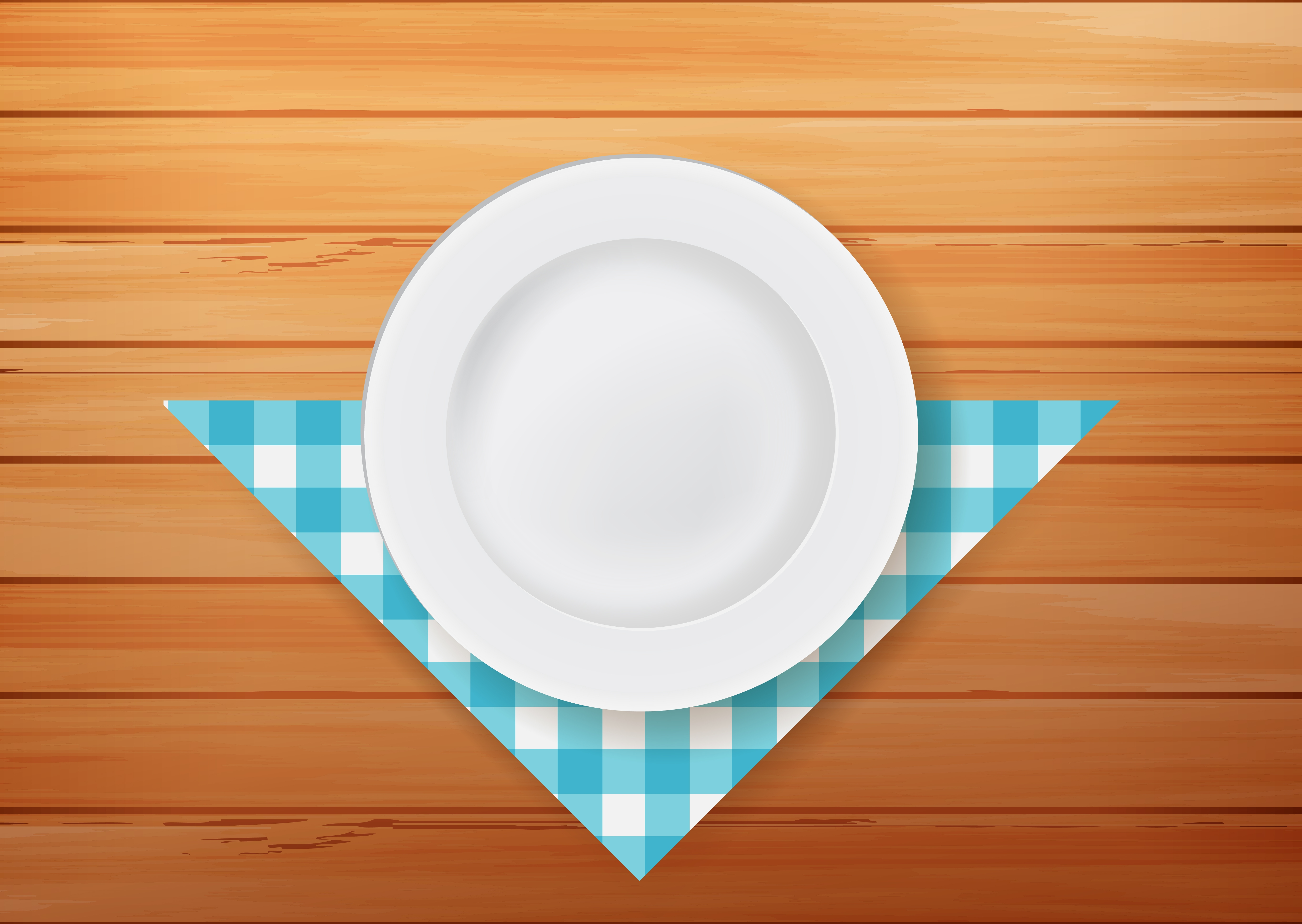Plate With Napkin On Wood Background Download Free