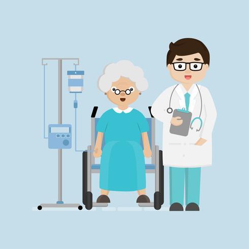 Doctores en el pasillo del hospital con el paciente femenino mayor en silla de ruedas. vector
