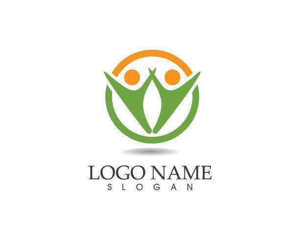 Vecteur de logo de soins de santé personnes