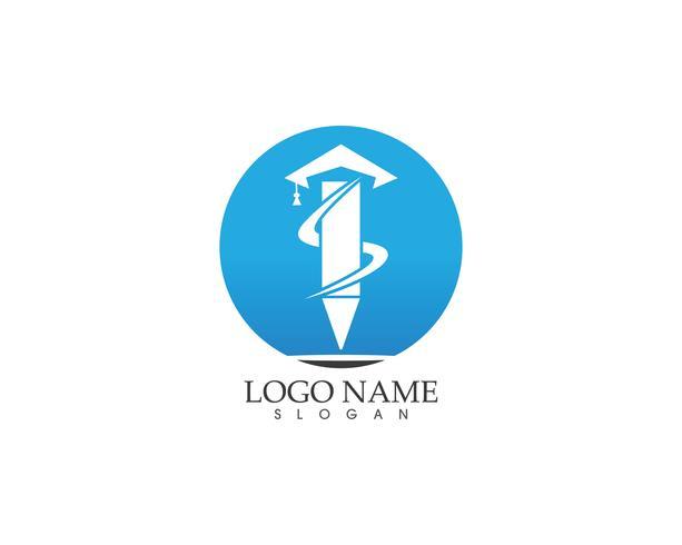 Modèle de logo de l'éducation de stylo