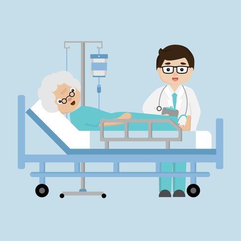 Het bezoek geduldige bejaarde die van de arts in een medisch bed ligt.