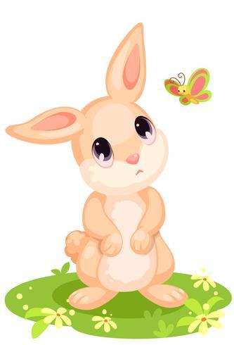 Nettes Kaninchen, das Schmetterlingskarikatur betrachtet