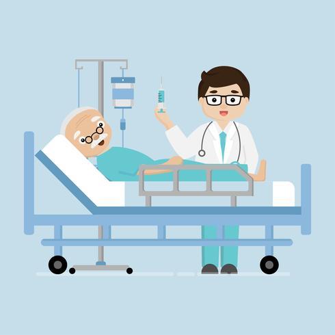 Homem paciente do elderl da visita do doutor que encontra-se em uma cama médica.