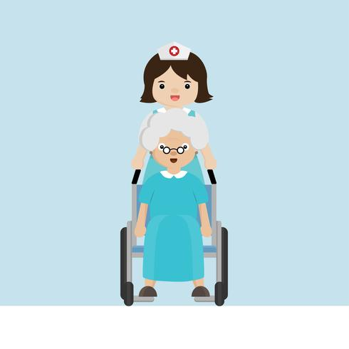 Nurse strolling with elder patient in wheelchair.