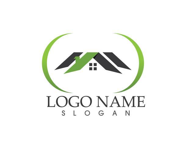 Bienes raíces y la construcción de la plantilla de vector logo casa