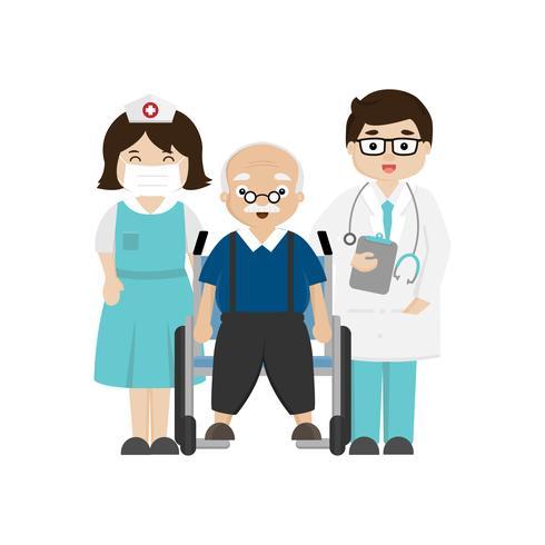 Médico, enfermeira e paciente sênior em cadeira de rodas.