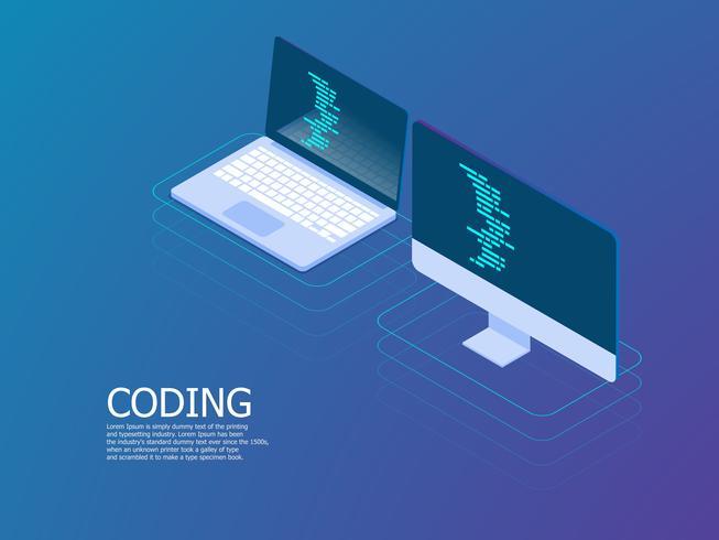 codificación con portátil vector isométrica
