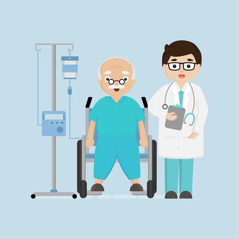Doctors  in hospital corridor with senior female patient in wheel chair. vector