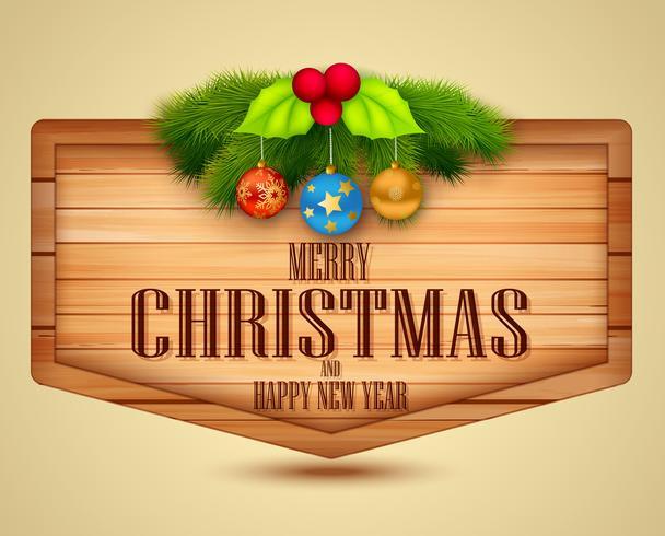 Elemento de Navidad con mensaje sobre fondo de madera