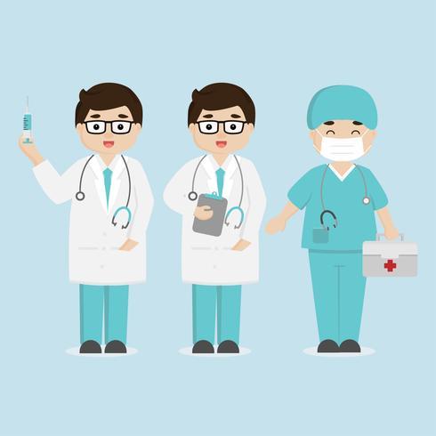Concepto de equipo de personal médico en el hospital. Doctor y enfermera de personajes de dibujos animados.
