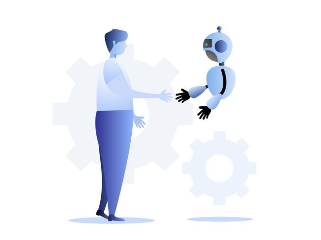 human and robot business technology concept