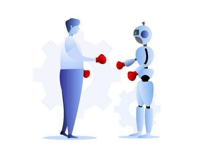 mänsklig mot robotar affärsutmaning koncept