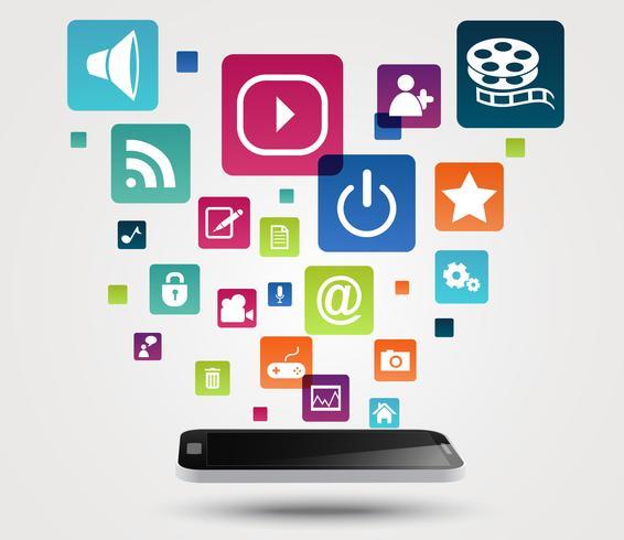 Smartphone apps Ikonenkonzepthintergrund