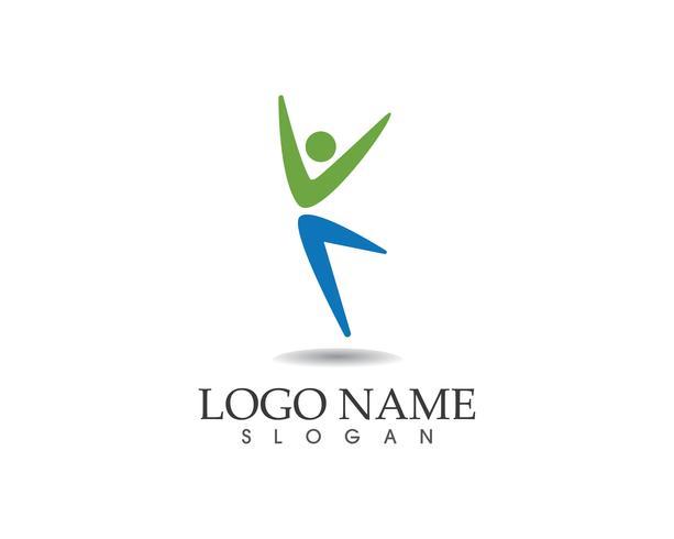Athletic yoga people logo vector