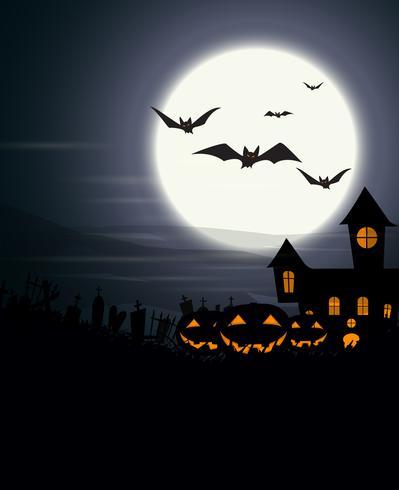 Priorità bassa di Halloween con la luna piena e zucche spaventose