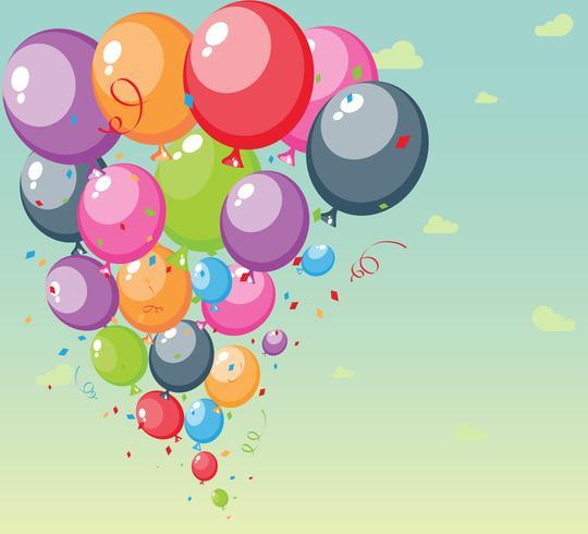 Fundo festivo balões com céu e nuvens
