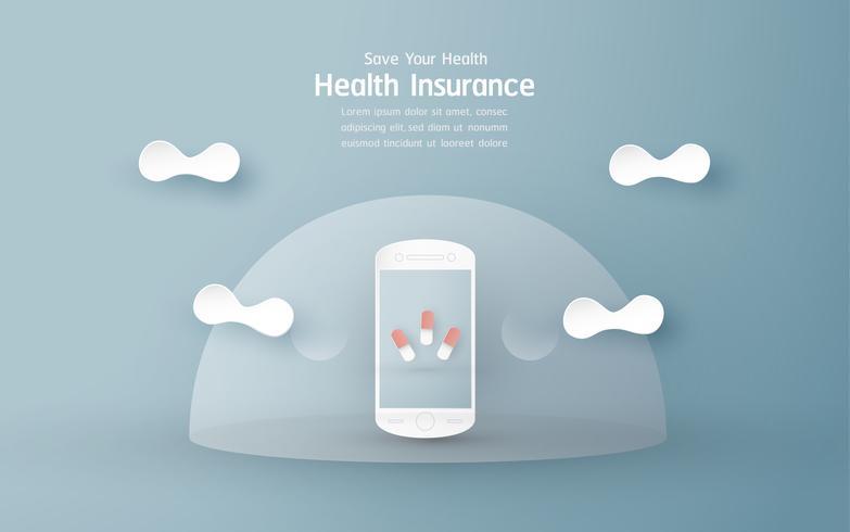 Illustrazione vettoriale nel concetto di assicurazione sanitaria. La progettazione del modello è su sfondo blu pastello per copertina, banner web, poster, presentazione di diapositive. Art Craft per bambino in stile taglio carta 3D.