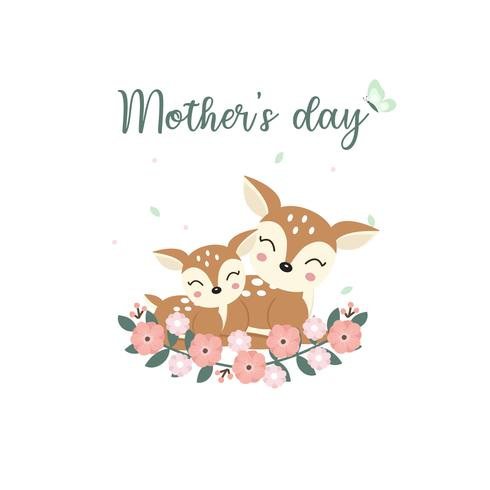 Cute animals for Mothers Day card. Deer Mom and Her Baby cartoon.