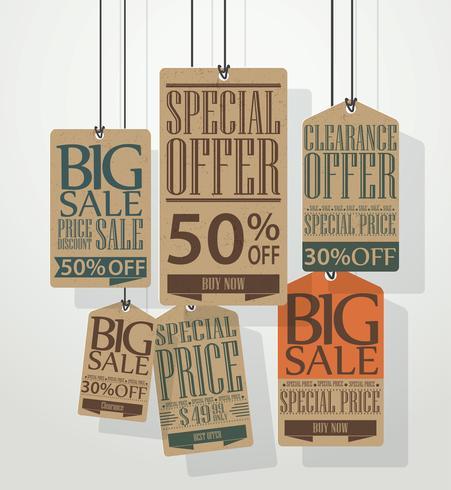 Diseño de etiquetas de venta vintage