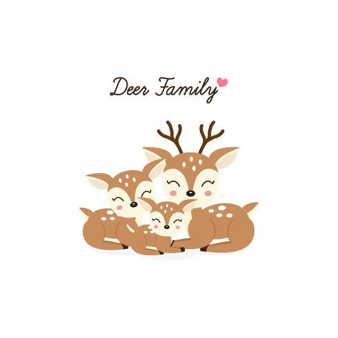 Dibujos animados de la familia de los ciervos. Madre padre y bebe vector