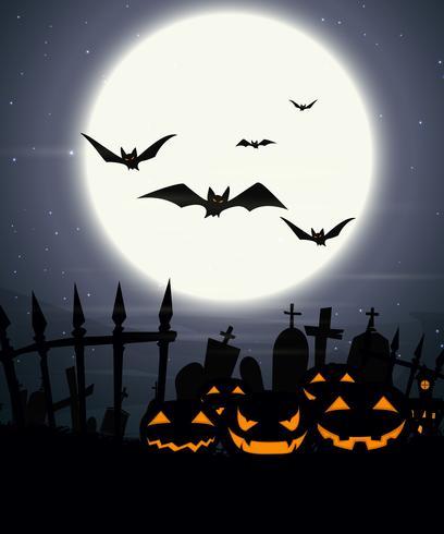 Fundo de dia das bruxas com lua cheia e abóboras assustadoras