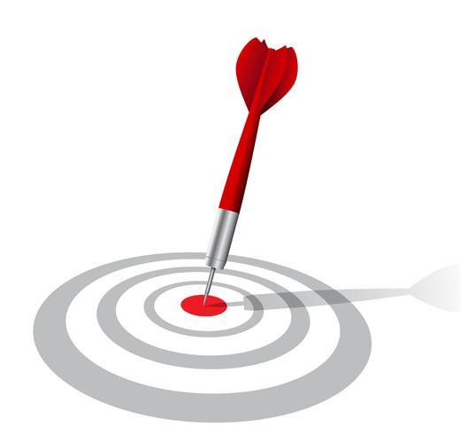 realistiska dart mål med skugga vektor