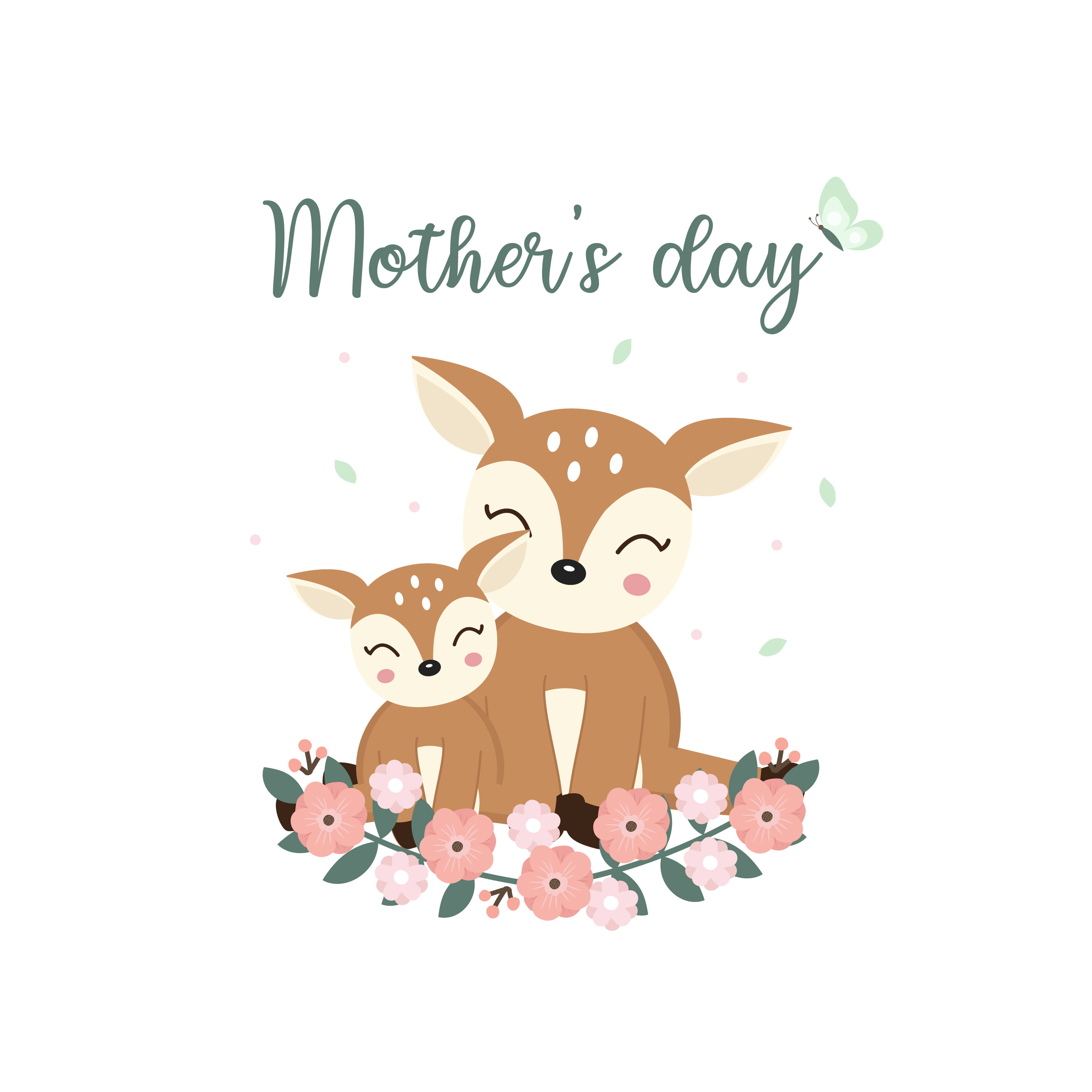 Cute Animals For Mothers Day Card Deer Mom And Her Baby Cartoon Download Free Vectors Clipart Graphics Vector Art