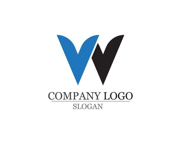 W lettere logo aziendale e modello di simboli
