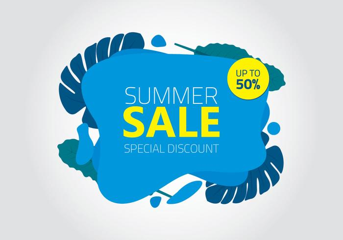 Summer sale background liquid shapes with lettering special discount vector