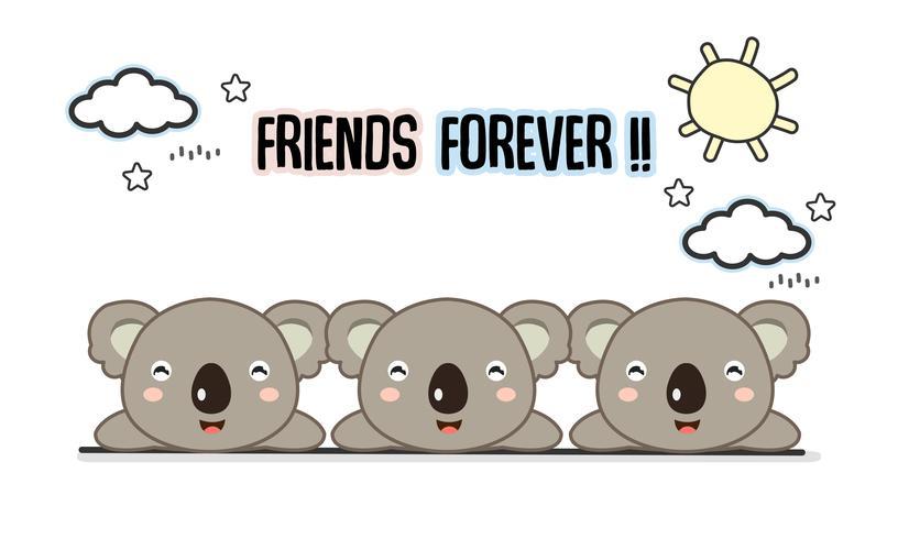 Amigos para sempre Koalas ilustração vetorial