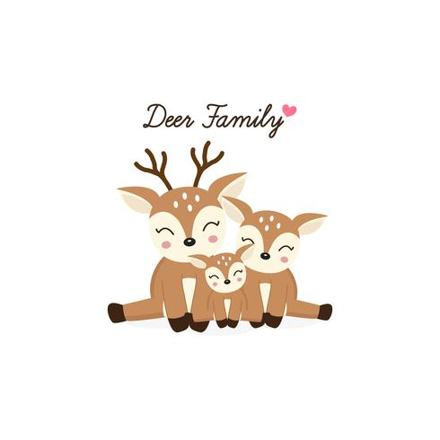 Cartoon Deer family. Mother Father and baby. vector