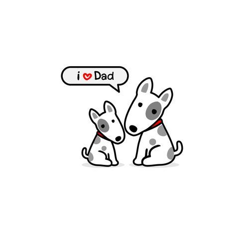 Hälsningskort för pappa med söt hund och älskling. Vektor illustration.