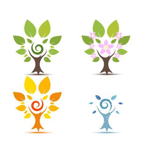 Träd på fyra årstider - vår, sommar, höst, vinterikon