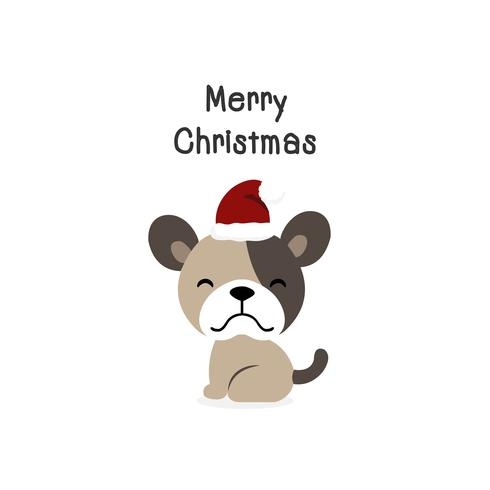Merry Christmas dog Cartoon Dog. Vector illustration.