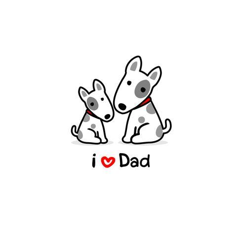 Biglietto di auguri per papà con simpatico cane e bambino. Illustrazione vettoriale