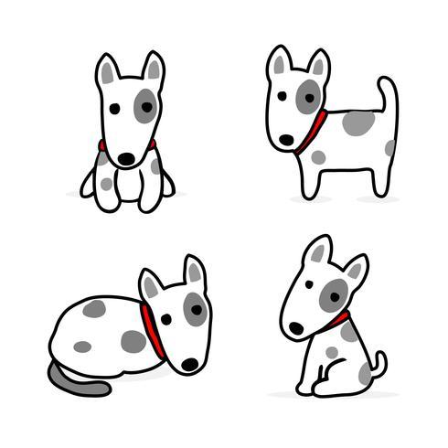 Set di cani simpatico cartone animato. Illustrazione vettoriale