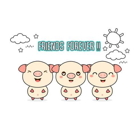 Amis carte de vœux pour toujours avec de petits animaux. Illustration vectorielle de cochons mignons cartoon.
