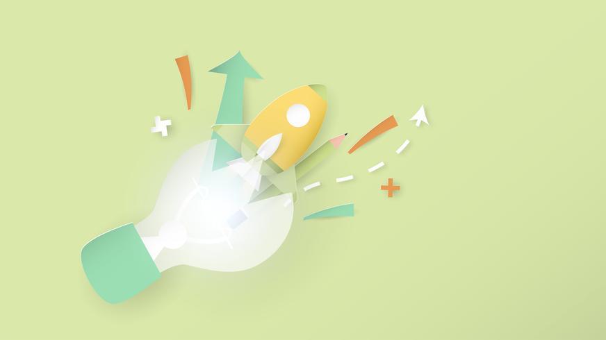 Illustration vectorielle avec concept de démarrage en papier découpé, style artisanal et origami. La fusée vole. Modèle de conception pour la bannière web, affiche, couverture, publicité. C'est de l'artisanat d'art pour les enfants.