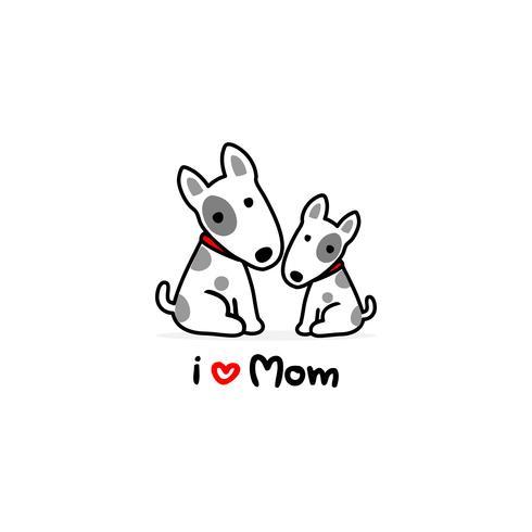 Fondo del blanco de la historieta del perro de la mamá y del bebé.