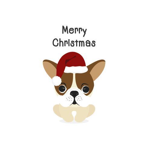 Perro feliz navidad perro de dibujos animados. Ilustracion vectorial