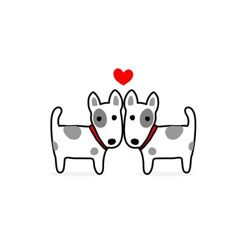 Ilustración del día de san valentín. Pareja terrier perro enamorado. vector