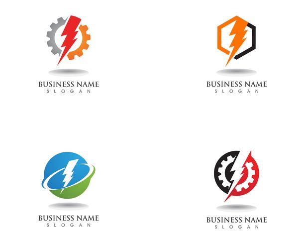 design de logotipo de vetor de eletricidade raio relâmpago