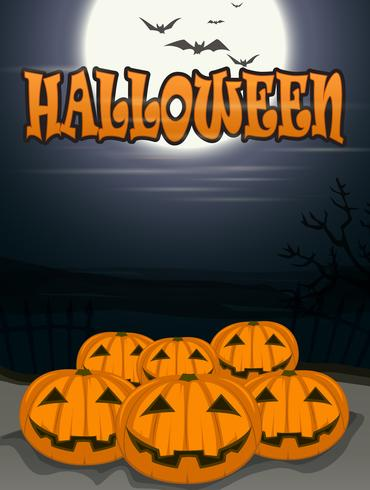 halloween bakgrund med läskiga pumpor