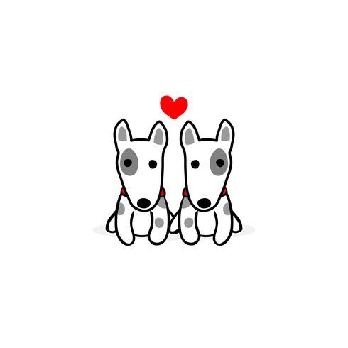 Ilustración del día de san valentín. Pareja terrier perro enamorado.