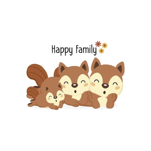 Happy squirrel family with a little squirrel in the middle.  vector