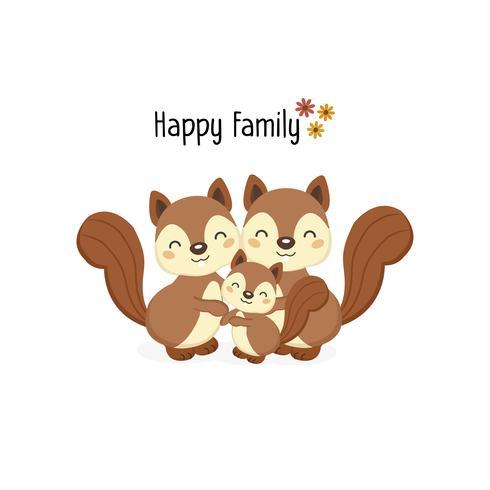 Famiglia di scoiattoli felice con un piccolo scoiattolo nel mezzo.
